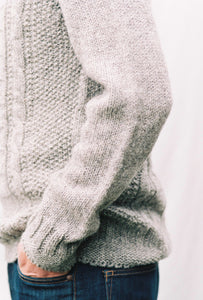 Mens British Wool Cable Jumper in Mid Grey