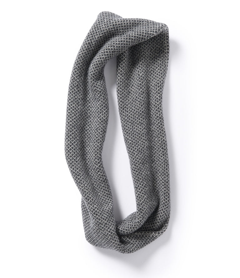Roa Soft Lambswool Cowl in Charcoal/Linen