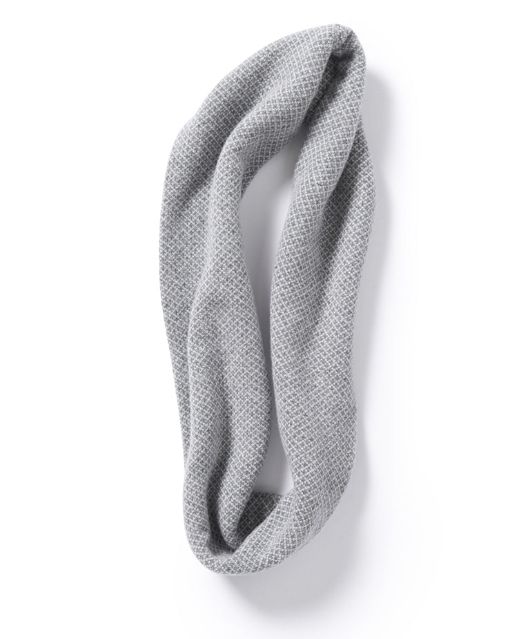 Roa Soft Lambswool Cowl in Warm Grey/Winter White