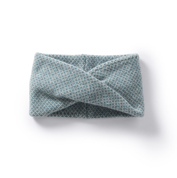 Roa Soft Lambswool Twist Headwrap in Soft Aqua/Linen