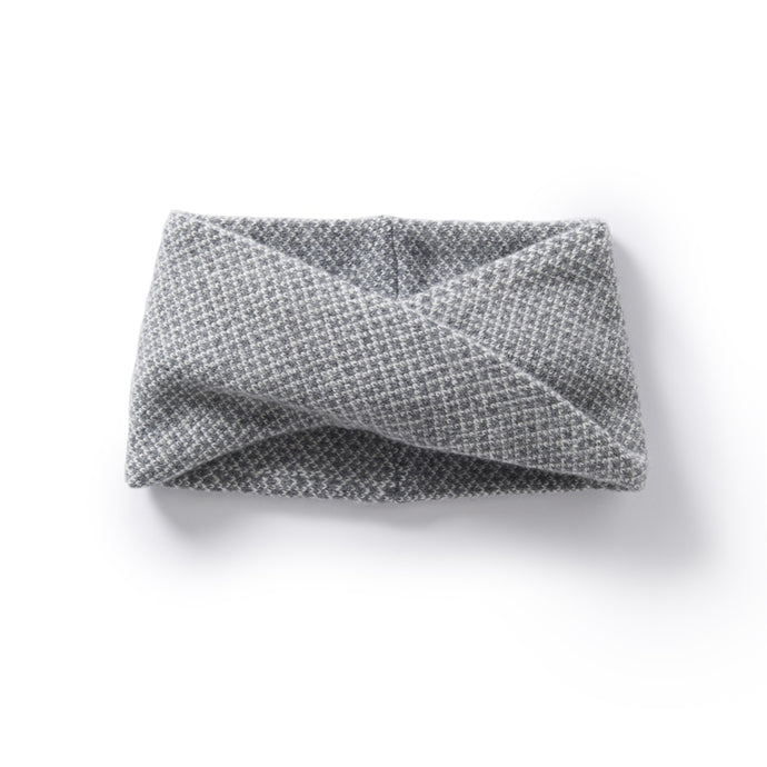 Roa Soft Lambswool Twist Headwrap in Warm Grey/Winter White