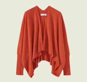 Fine Lambswool Wrap Cardigan in Burnt Orange