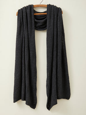 Fine Lambswool Brant Wrap in Charcoal