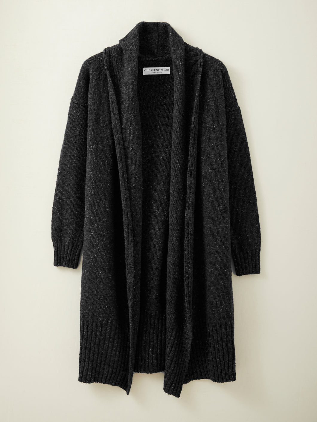Long Donegal Merino Cardigan in Charcoal