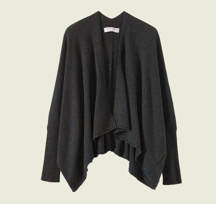 Fine Lambswool Wrap Cardigan in Charcoal
