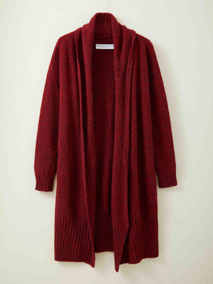 Long Donegal Merino Cardigan in Carmine