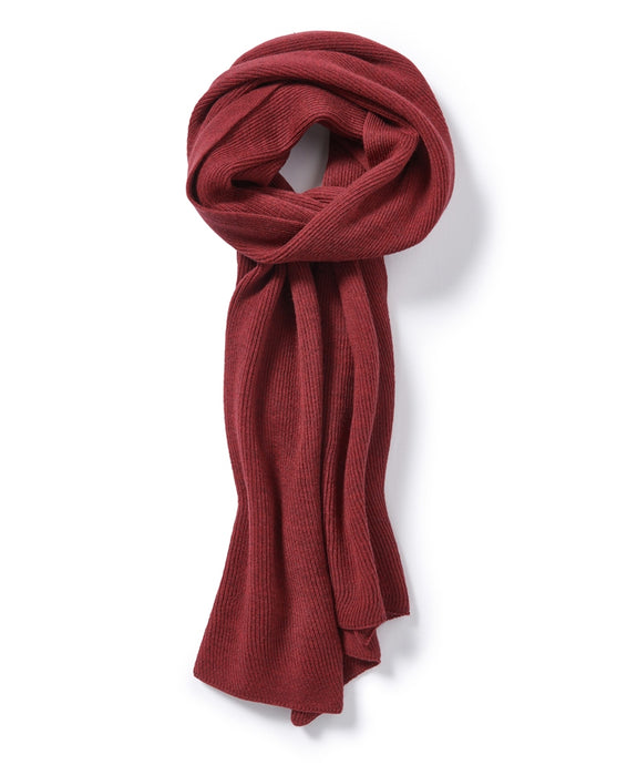 Fine Merino Ribbed Wrap in Rich Red