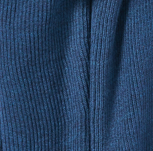 Fine Merino Ribbed Wrap in Ink Blue