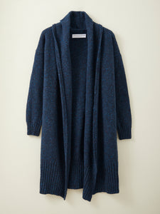 Long Donegal Merino Cardigan in Deep Ink