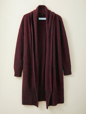 Long Donegal Merino Cardigan in Mulberry