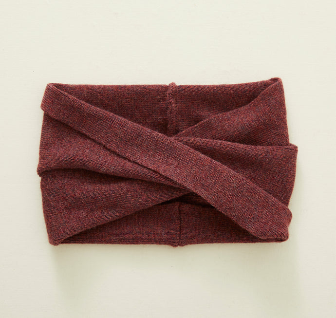 Cashmere Twist Head Wrap/Cowl in Mulberry Melange