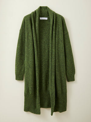 Long Donegal Merino Cardigan in Moss Green