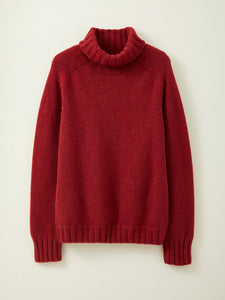 Chunky Lambswool Roll Neck Jumper in Russet Red
