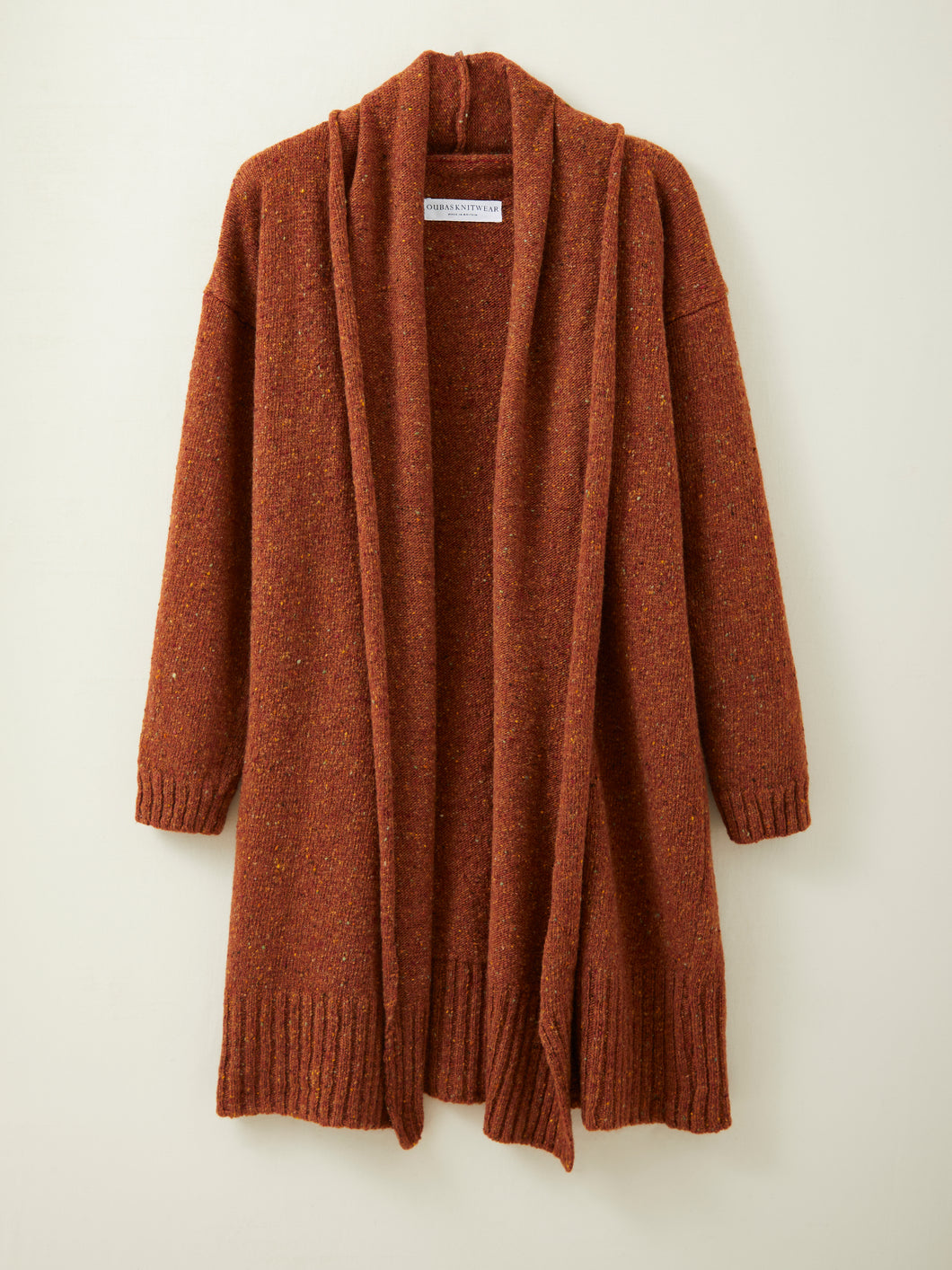 Long Donegal Merino Cardigan in Rust