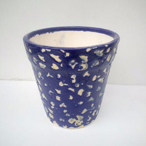 L108 - Blue Ceramic Pot (Rocky Pattern)