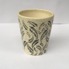 L90 - White Ceramic Pot (Leaves Pattern)
