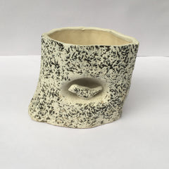 L96 - White Ceramic Wooden Trunk Pot