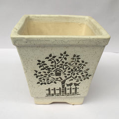 L98 - Ceramic Square Pot (Tree Pattern)