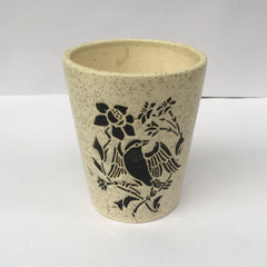 L91 - White Ceramic Pot (Sparrow Pattern)