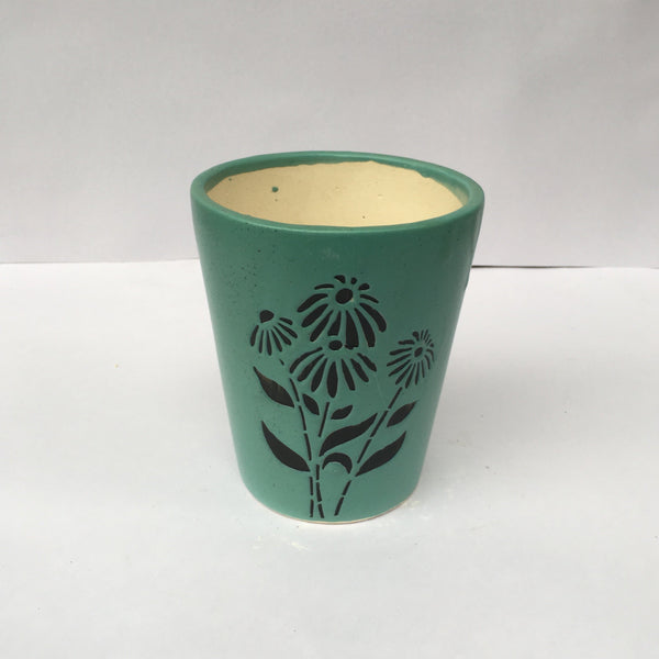L94 - Green Ceramic Pot (Flower Pattern)