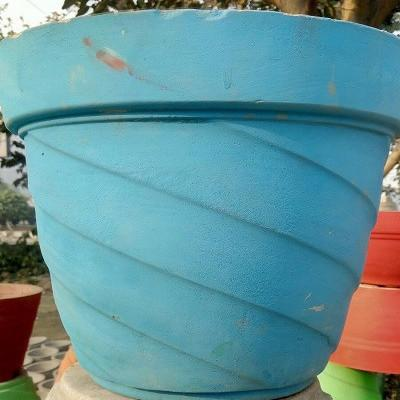 Blue Cement Pot