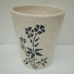 L101 - White Ceramic Pot (Flower Pattern)