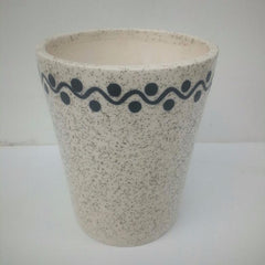 L110 - White Ceramic Pot (Edge Line Dot Pattern)