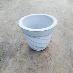 "Cement Planter 14"" - Stripes"