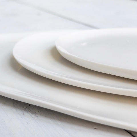 White Porcelain Plates Maud and Mabel