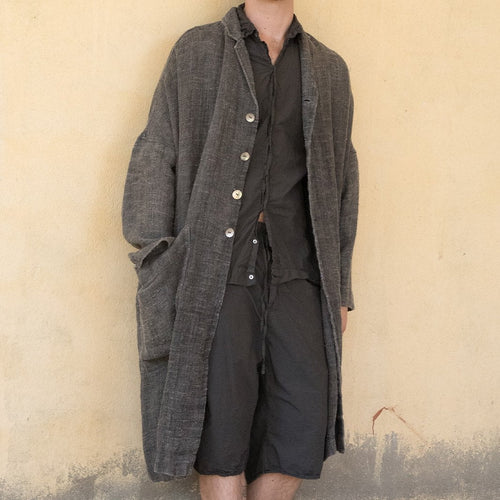 (SS21) Album Di Famiglia Unisex Linen Loose coat in Dark Grey