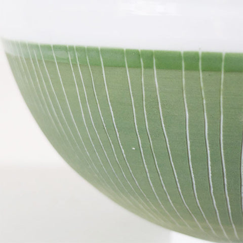 Derek Wilson large pale celadon bowl with olive etched slip