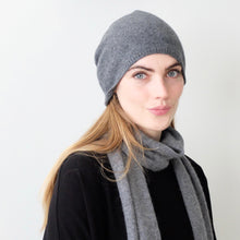OYUNA cashmere knitted scarf with stepped edge in Slate Grey