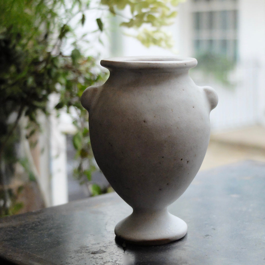 Charlotte McLeish medium Amphora vase in sand clay with matt white glaze 16
