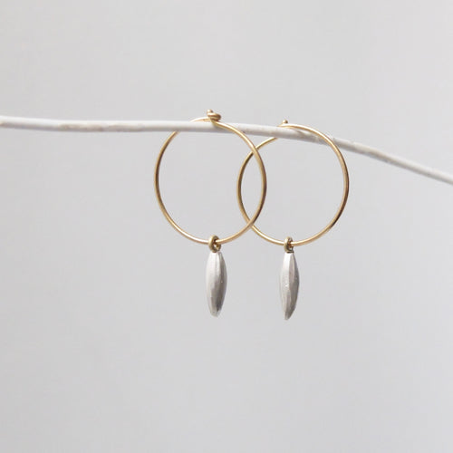 Kerry Seaton 18ct Yellow Gold and Silver rice grain ear hoops