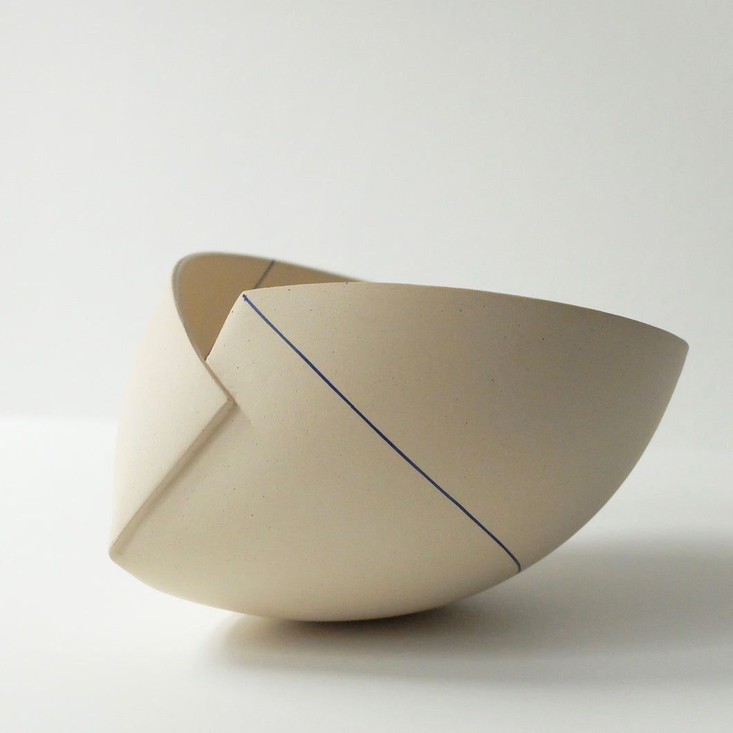 Ann Van Hoey White Folded Bowl with blue line 46