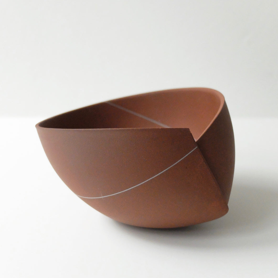 Ann Van Hoey Brown Folded Bowl with white line 48