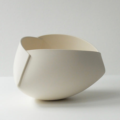 Ann Van Hoey White Folded Bowl 47