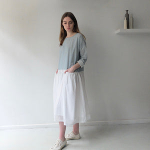 AO embroidered Sea light indigo dress