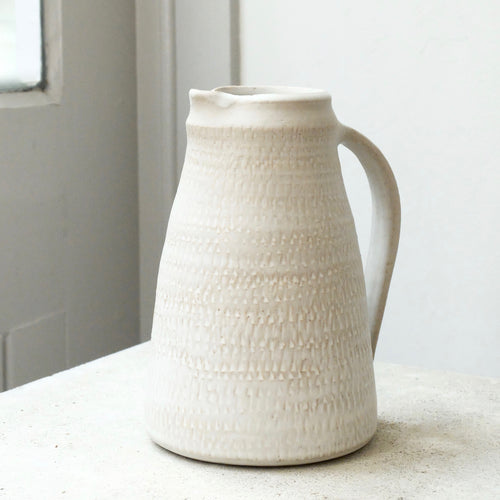 Nicola Tassie Stoneware jug in Dolomite with roulette markings