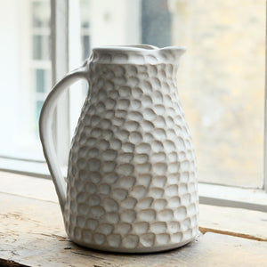Nicola Tassie  Stoneware jug in Dolomite with carved indents
