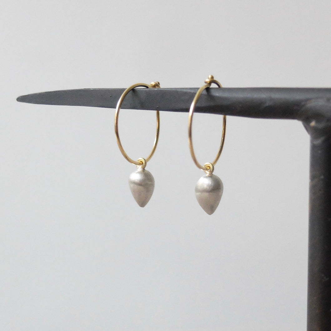 Kerry Seaton Yellow Gold/Silver Pod Ear Hoops
