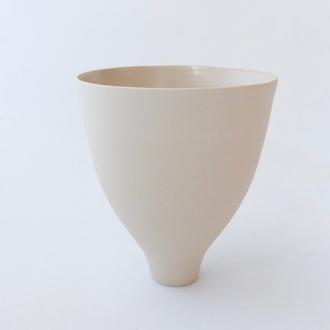 Tanya McCallin pale buff stoneware vessel TM35