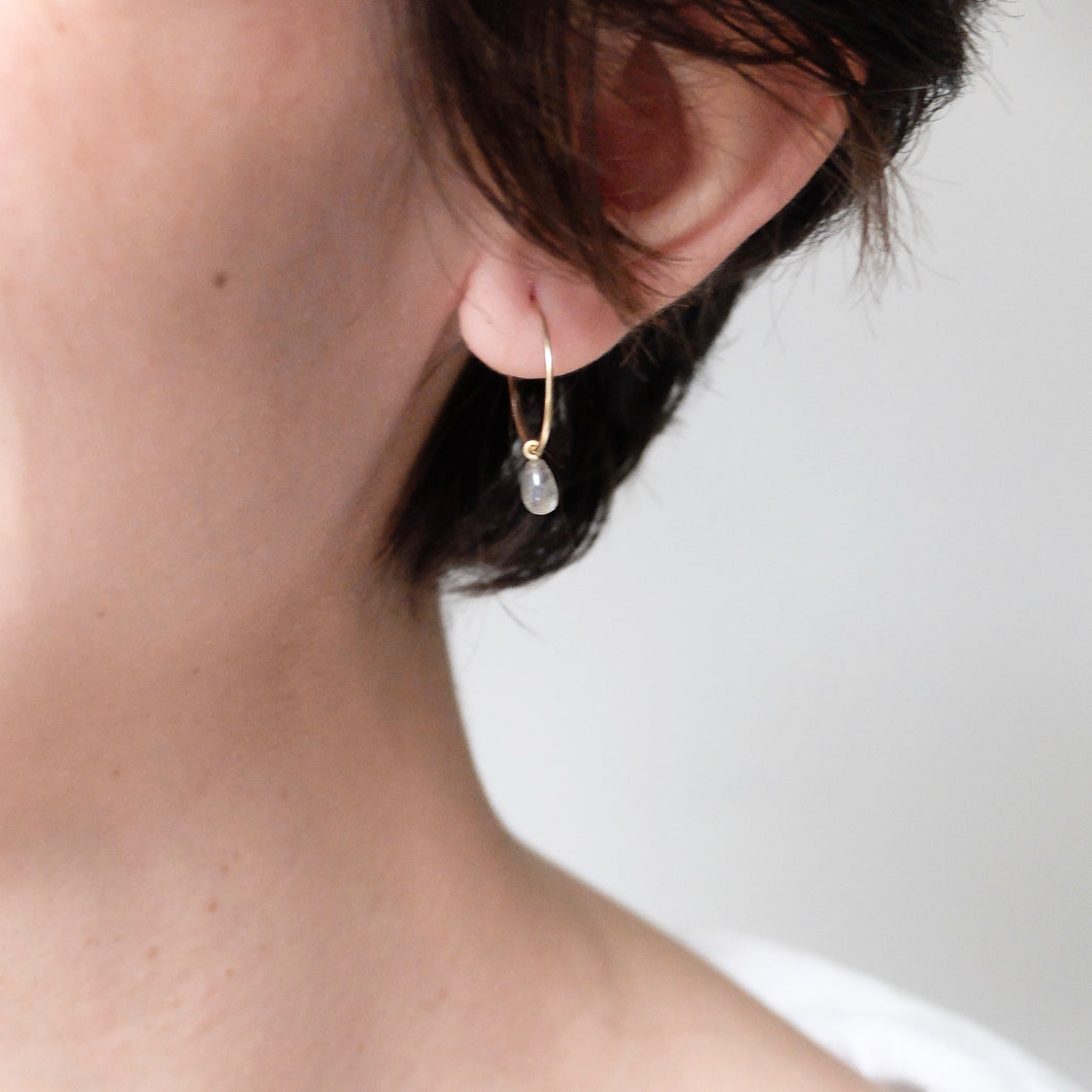 Kerry Seaton Yellow Gold/Labradorite Drop Hoops