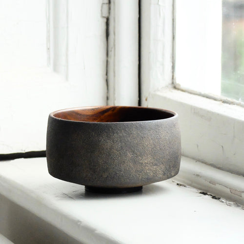 Takahashi McGil Elm chawan finished with urushi (sabi urushi outside) 29