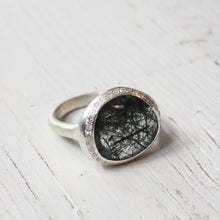 Rosa Maria quartz ring set in sterling silver and cut diamonds