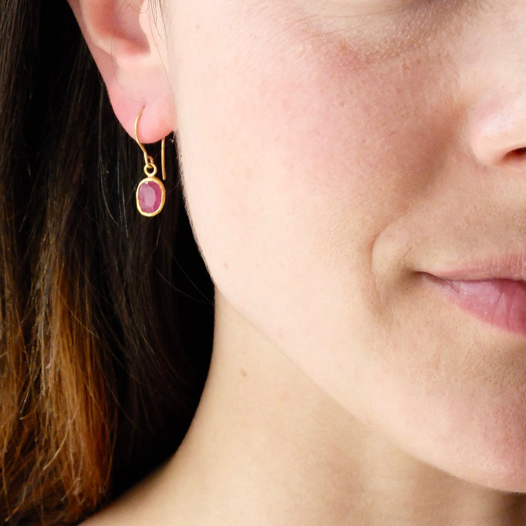 Ram Rijal Oval Ruby and 22 ct Gold Earrings 26