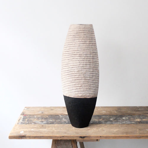 Malcolm Martin and Gaynor Dowling Tall Black and White Vessel 1183