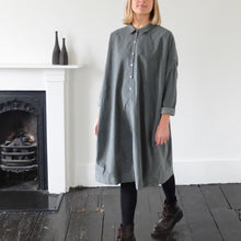 (AW20) Album Di Famiglia Velvet Collar Dress in Slate Grey