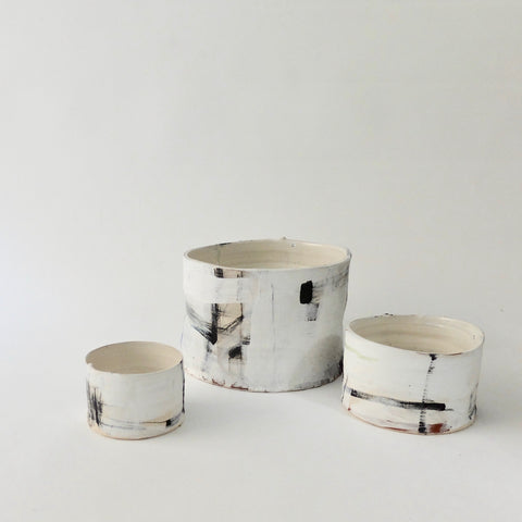 Barry Stedman Thrown Vessel White with Black