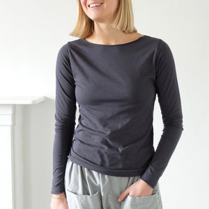 (AW20)  Evam Eva CN long sleeve t-shirt in Slate